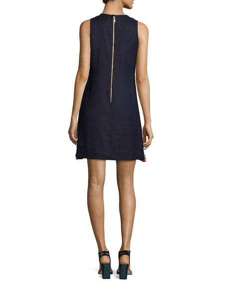 sleeveless embroidered linen-blend tassel dress, blue