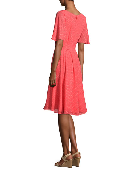 silk chiffon clipped polka-dot dress, paprika