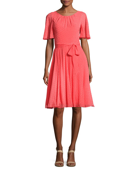 kate spade new york silk chiffon clipped polka-dot