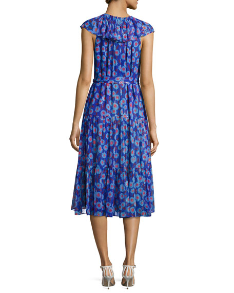 sleeveless metallic & floral silk chiffon dress, blue