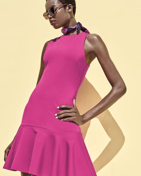 Fantastic Sleeveless Ponte Flounce Dress, Brilliant Fuchsia