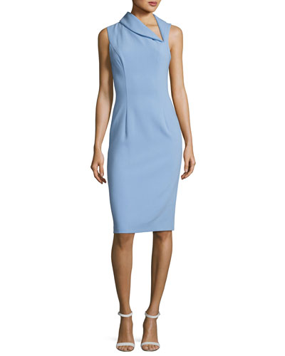 Black Halo Blaze Sleeveless Asymmetric Sheath Dress Blue