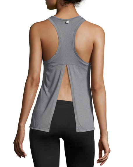 Flora Split-Back Vest Tank Top, Light Gray