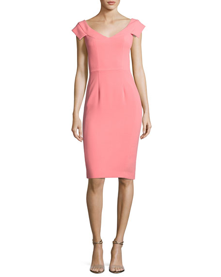 Black Halo Brooks Cap-Sleeve Ponte Sheath Dress, Carnival