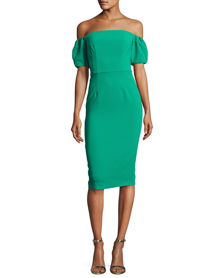 Black Halo Arden Off-the-Shoulder Ponte Sheath Dress, Green