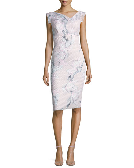 Black Halo Jackie Floral Mesh Sheath Dress, Pink/Multicolor