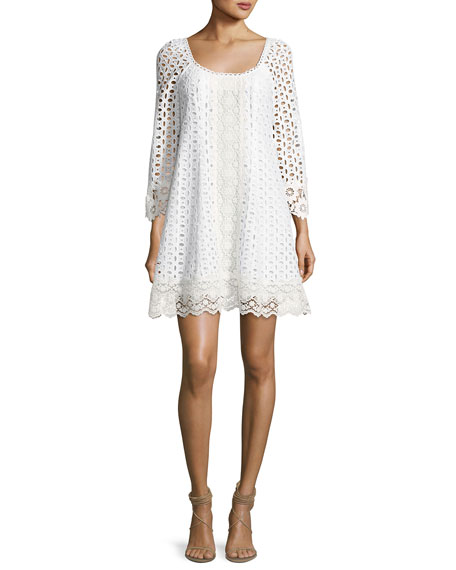 Nanette Lepore Eye Candy Cotton Eyelet Swing Dress,