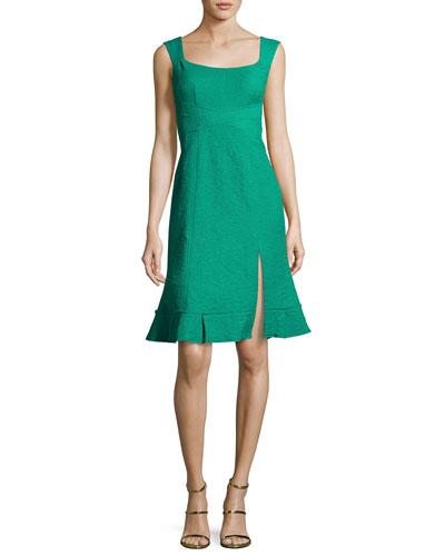 Blossom Sleeveless Jacquard Flounce Dress, Green