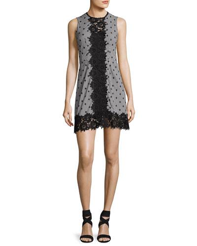 Highline Sleeveless Gingham Mini Dress, Black/White
