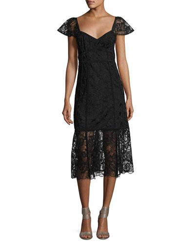 Firefly Cap-Sleeve Lace Midi Dress, Black