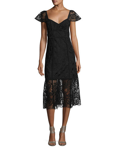 Nanette Lepore Firefly Cap-Sleeve Lace Midi Dress, Black