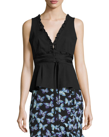 Nanette Lepore Spring Fever Stretch Poplin Wrap Top,
