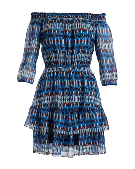 Rosalyn Off-the-Shoulder Printed Silk Blouson Dress, Navy