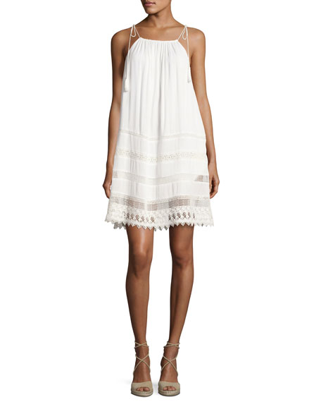 Alice + Olivia Danna Tie-Strap Short Dress, White