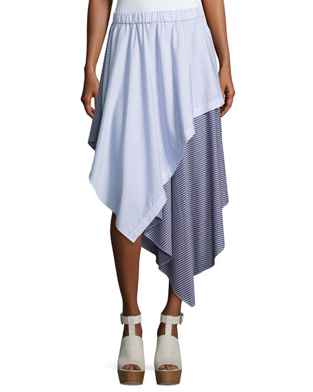 Opening Ceremony Cody Stripe Asymmetric Cotton Skirt, Blue