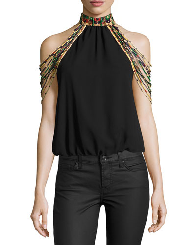 Breslin Beaded Embellished Mock-Neck Top, Multi