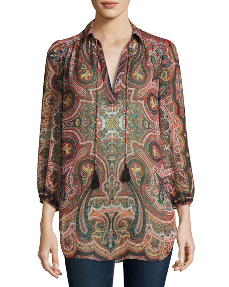 Alice + Olivia Sterling Half-Placket Tunic Top, Multiprint