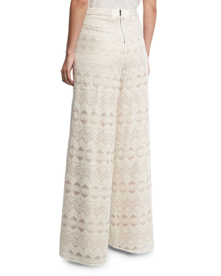 Athena Embroidered Flared Wide-Leg Silk Pants, Multi