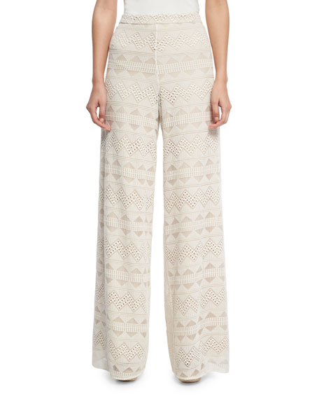 Alice + Olivia Athena Embroidered Flared Wide-Leg Silk