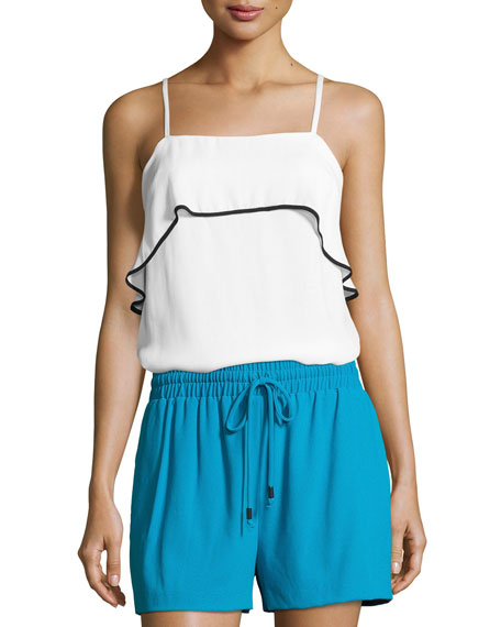 Alice + Olivia Etta Ruffle Silk Cami Top,