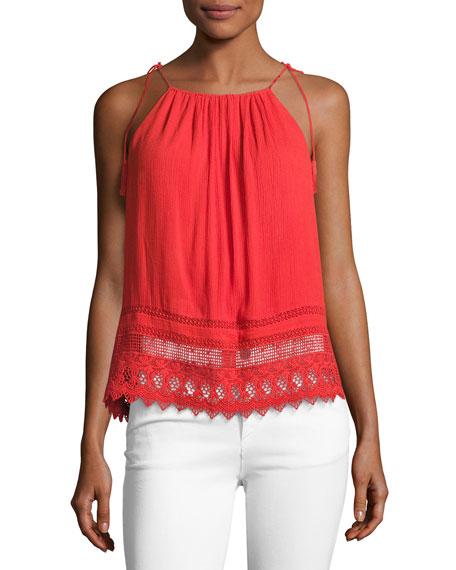 Danya Tie-Strap Cami Top, Bright Red