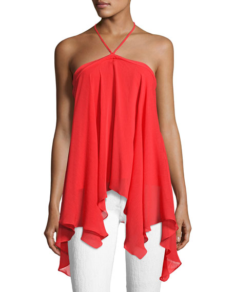 Alice + Olivia Tish Tie-Neck Handkerchief Top, Bright