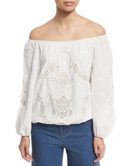 Alice + Olivia Alta Embroidered Cotton Peasant Top,