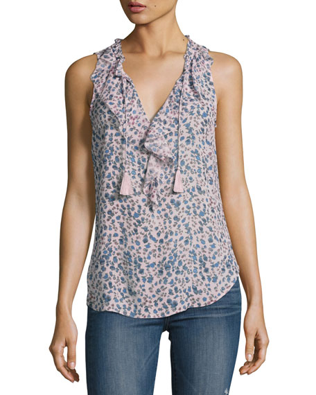 Paige Denim Alma Sleeveless Silk Top, Multi