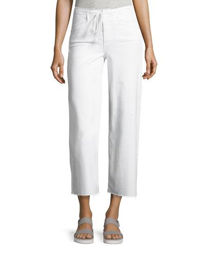 Lori Crop Drawstring Jeans, White