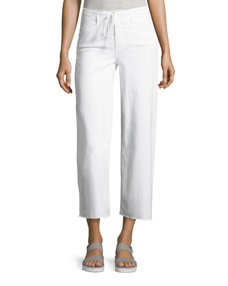 Paige Denim Lori Crop Drawstring Jeans, White
