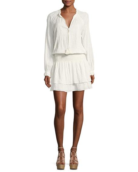Lemay Split-Neck Long-Sleeves Blouson Dress