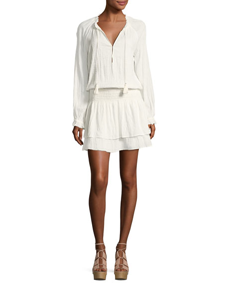 PAIGE Lemay Split-Neck Long-Sleeves Blouson Dress