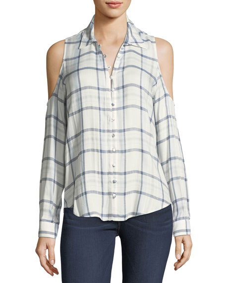 Bellini Plaid Cold-Shoulder Button-Front Shirt