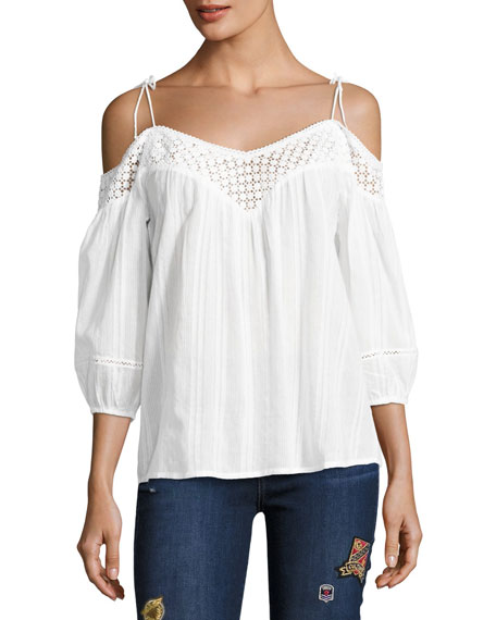PAIGE Polly Cold-Shoulder Cotton Blouse