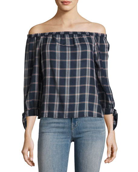 PAIGE Antonia Plaid Cotton Top, Multi