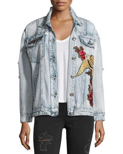 Distressed Denim Trucker Jacket, Indigo