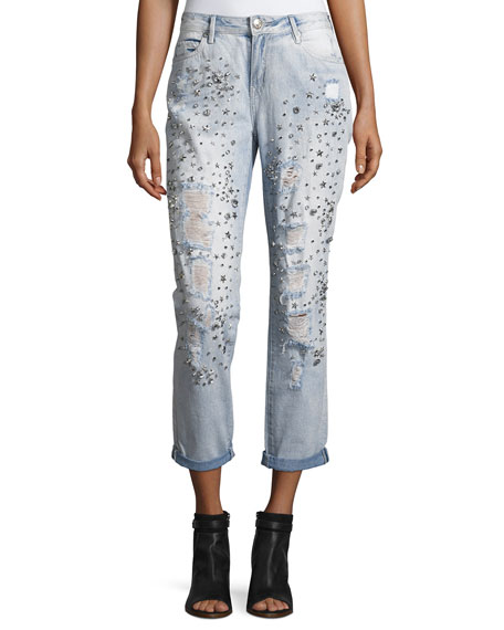 True Religion Embellished Boyfriend Denim Jeans, Indigo