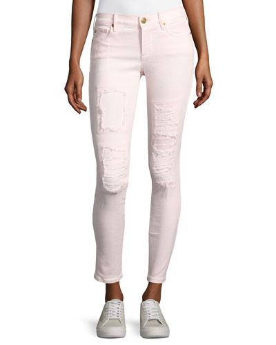 Halle Mid-Rise Super Skinny Jeans, Pink