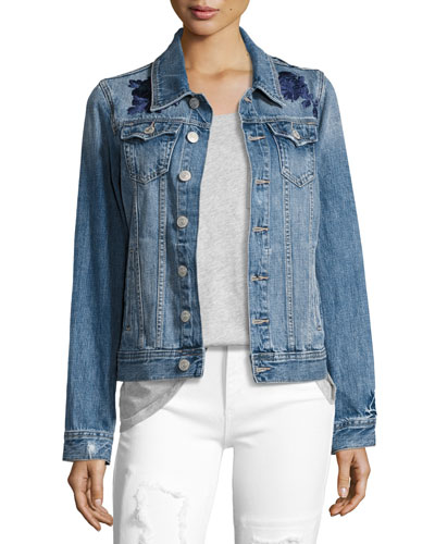 Danni Embroidered Denim Jacket, Indigo