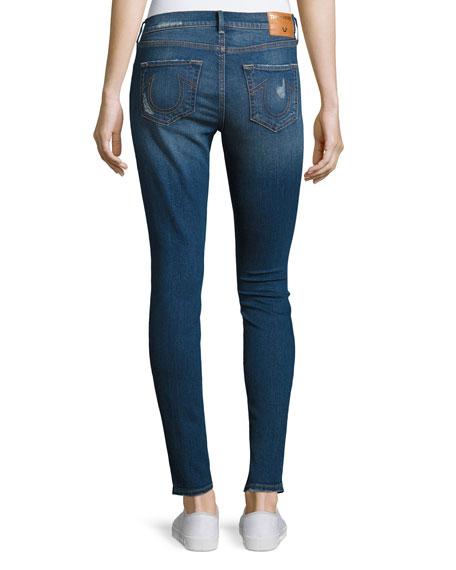 Halle Mid-Rise Super Skinny Jeans, Indigo