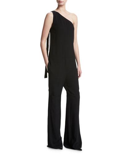 Eilidh Rosina Crepe One-Shoulder Jumpsuit, Black