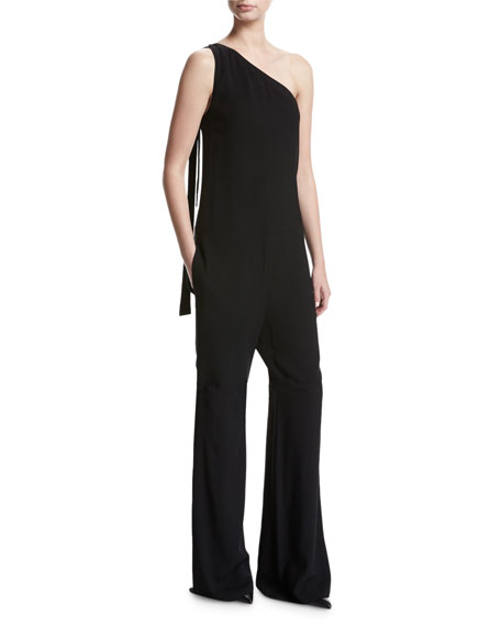 Theory Eilidh Rosina Crepe One-Shoulder Jumpsuit, Black