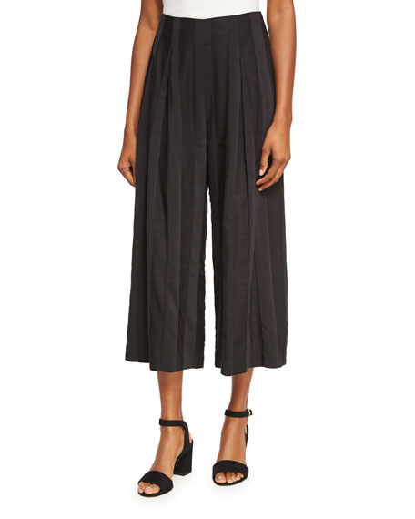 Kendall + Kylie Shadow Stripe Wide-Leg Pants, Black