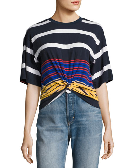 Kendall + Kylie Multi-Stripe Short Sleeve Knotted Tee,