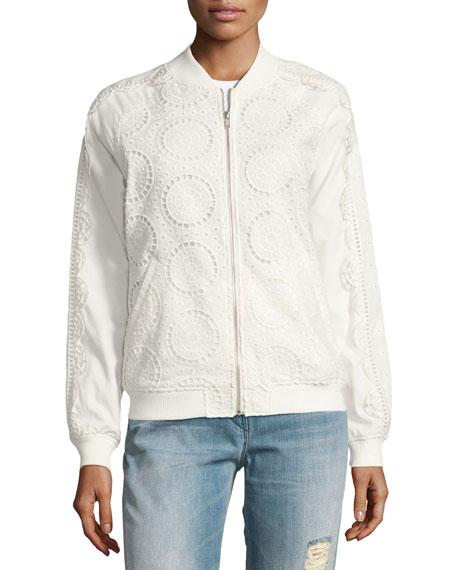 Anglaise Cotton Bomber Jacket, White