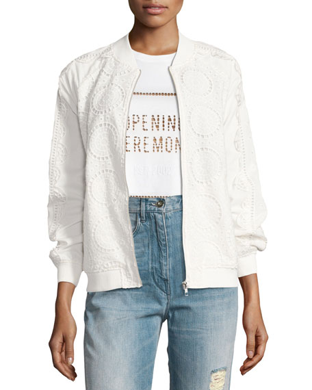 Opening Ceremony Anglaise Cotton Bomber Jacket, White