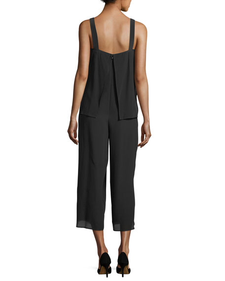 Dinnlean Mosaic Wide-Leg Sleeveless Jumpsuit