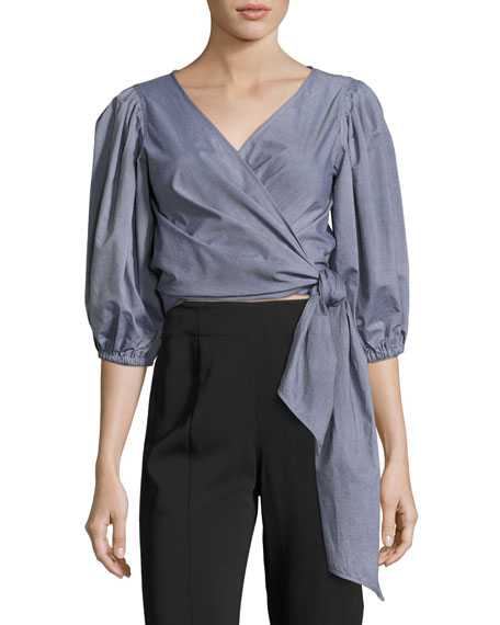 Elizabeth and James Farrah Side-Tie Wrap Cotton Top,