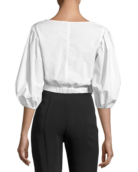 Haven Three-Quarter Sleeve Wrap Top, White