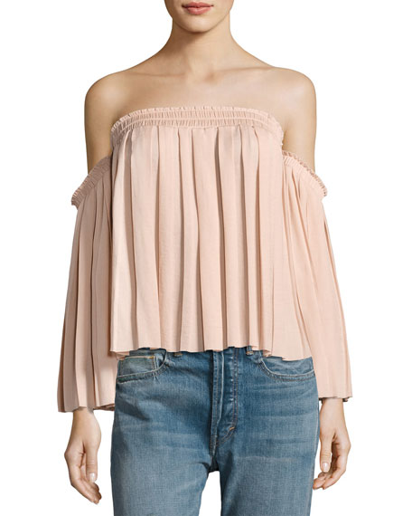 Elizabeth and James Emelyn Off-the-Shoulder Pleated Top, Light